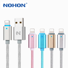 Original NOHON LED Lighting Cable 8Pin USB Charging Cable For Apple iPhone 7 6 6S Plus 5 5S iPad iPod Data Sync Smart Power-Off