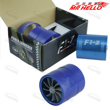 Hot! F1-Z Supercharger Turbo Air Intake Fuel Saver Fan w/ Double Propeller - Blue high quality(China)