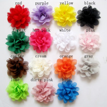 "2016 Mini DIY Flowers Kids Boutique 2 ""Flower Chiffon Flowers without clips Christmas Wedding girls Hair Accessories 20pcs/lot"