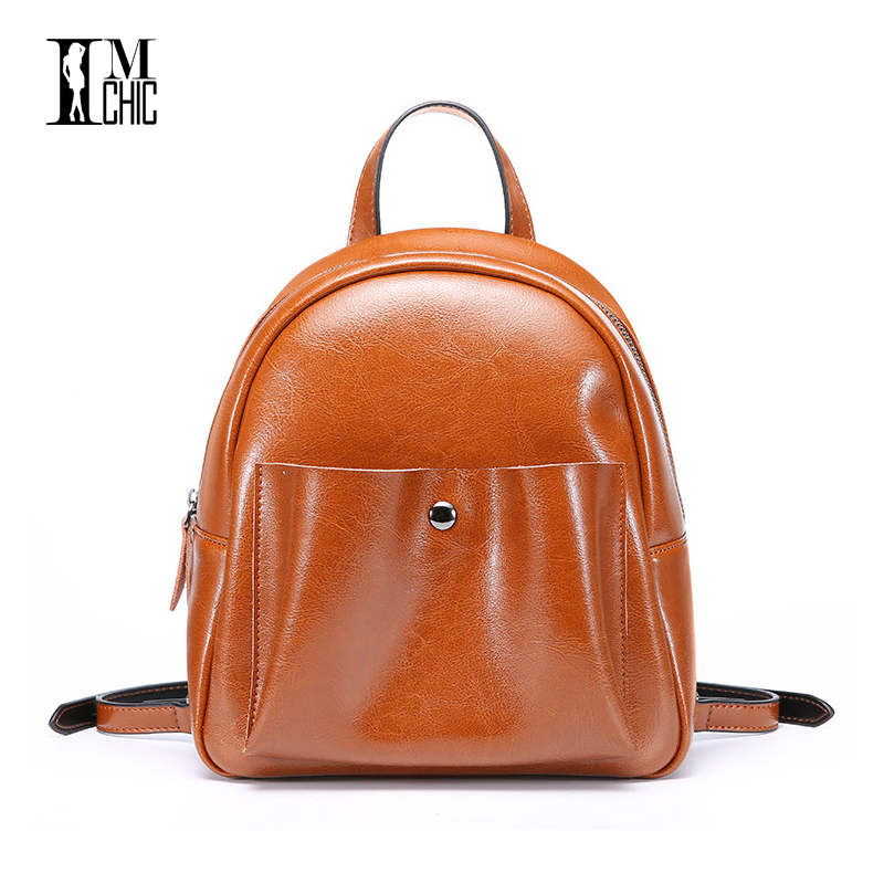 Vintage Split leather Womens Backpacks Small Travel Bags Female Black Dailypack School Ladies Preppy British Girl Backpack <br>