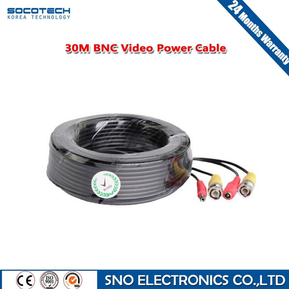 Socotech BNC Video Power Siamese Cable for Surveillance DVR Kit Length 30M 98ft CCTV Camera Accessories<br><br>Aliexpress