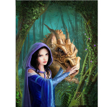Girl and dragon Diamond painting full square Mosaic pictures Mosaic drawings Pictures of rhinestones hobby foamiran 3d diamond(China)