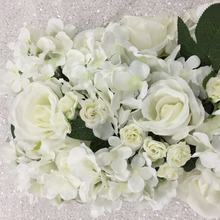 Romantic wholesal wedding stage arch table runner backdrop flowers wall decoration artificial flower table centerpiece(China)