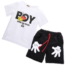 2016 NEW Baby Toddler Boys Clothes Casual Tops+Mickey Pants 2pcs Oufits Cloths Set