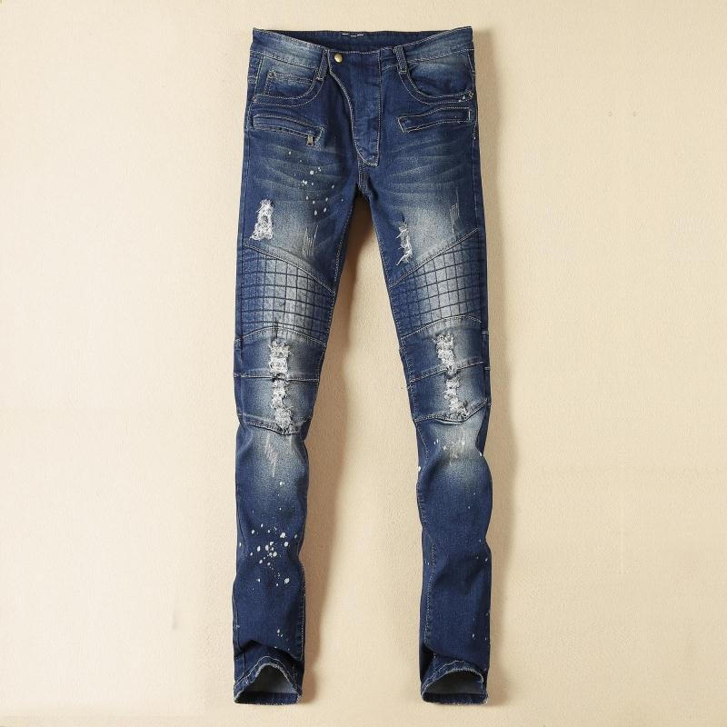 Brand Men Jeans 2017 New Fashion Hole Runway Distressed Slim Jeans Mens Denim Biker Blue Jeans Mens CasualÎäåæäà è àêñåññóàðû<br><br>