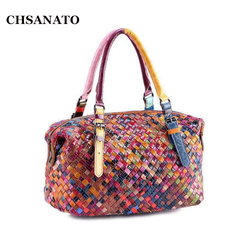 100% Women Handmade Bags Leather Handbag Colorful Cowhide Patchwork Genuine Leather Woven Bag Knitted Real Leather Tote Bag<br>