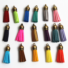 100pcs 38mm Vintage Leather Tassel for Jewelry DIY Keychain Cellphone Straps Fiber Fringe Suede Tassel Pendant Charms
