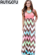 Buy RUTIGEFU 2017 summer women's casual printing Slim round neck Slim sleeveless dress Vestidos wavy bohemian beach dress Bodycon for $13.11 in AliExpress store