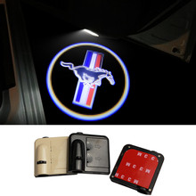 2pcs Wireless No Drill Magnetic Car LED Door Welcome Projector Logo Ghost Shadow Laser Lights for Ford Mustang