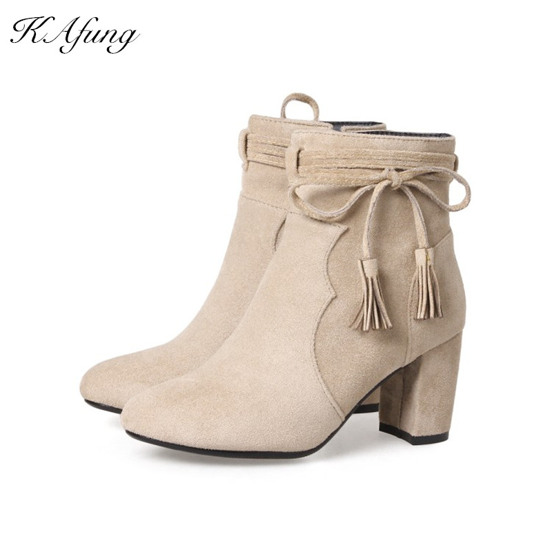 Winters new style ankle boot strap side zipper pointed suede boots womens boots with heel Suede boots High-heeled boots womans<br>