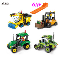 Car-styling City Police Series Sweeper Car Tractor Forklift Road Roller Car Mini Blocks DIY Assembling Building Blocks Kits Toys