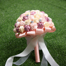 New arrived purple +pink +cream artificial bridal bouquet for wedding decoration(China)