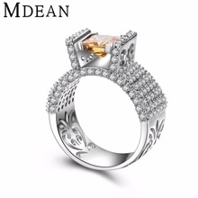 MDEAN White Gold Plated Rings for women vintage big CZ diamond Jewelry luxury women Rings for wedding fashion Accessories MSR809