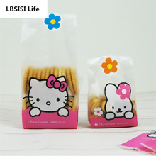 50Pcs Hello Kitty Rabbit Machine Sealing Food Biscuit Envelope West Point Pink Cake Bags Gift Cookie Packing Flat Plastic Bag(China)