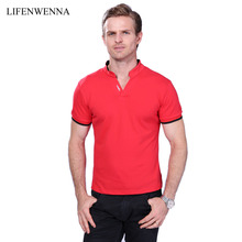 Hot Sale Men's V Neck T Shirt 2017 Summer Fashion Solid Short Sleeve T Shirt Men LAISO Print Collar Slim Fit Mens Top Tees Shirt