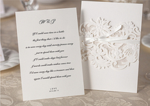 USA market best selling  white Laser Cut cover Wedding Invitation Card  WM203