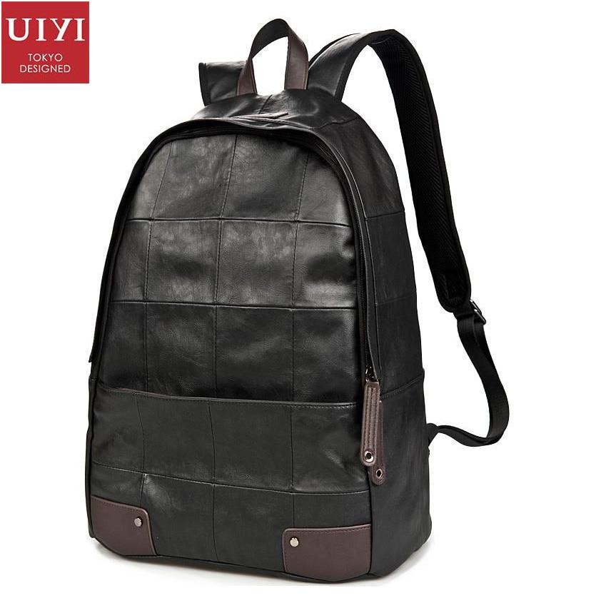 Fashion Men Women Black PU Leather Portable Travel Plaid 14 Laptop Backpack Male Ipad Bags Knapsack Shoulders Bag 140073901<br>
