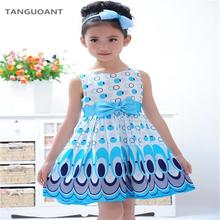 TANGUOANT Girl dress, Princess Bow Belt dress Circle Bubble Peacock print kids clothes, girl's Party dresses 2-11Y free shipping(China)