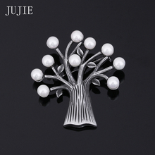 JUJIE Unique Tree Leaf Brooches For Women Four Color Simulated Pearl Brooches Pins Vintage Scarves Buckle Lapel Pins For Men