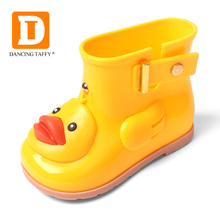 Waterproof Child Rubber Boots Jelly Soft Yellow Infant Shoe Girl Boots Baby Rain Boots Kids With Duck Girls Children Rain Shoes(China)