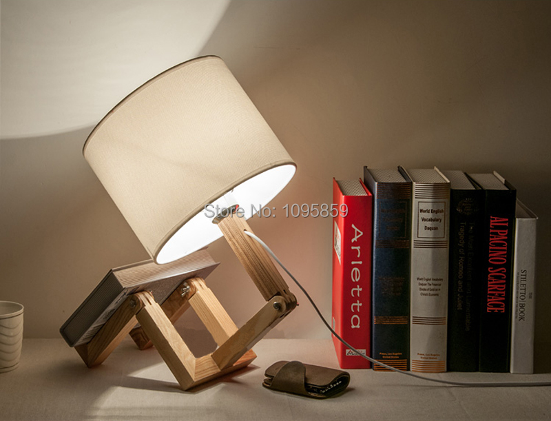 Free Shipping Modern Wood Robot Fold Table Lamps Lights White Desk Reading Lighting<br><br>Aliexpress