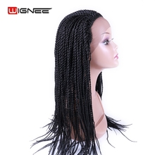 Wignee Lace Front 2x Twist Braids Wig Synthetic Women Wig Pure Color Natural Black Heat Resistant Cosplay Hair For Black Women(China)