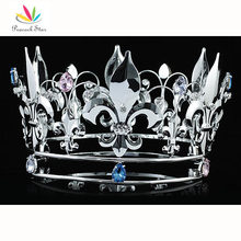 "Peacock Star Homecoming Tiara 5"" Full Circle Round Crown Crystal Pageant King / Queen CT1718"