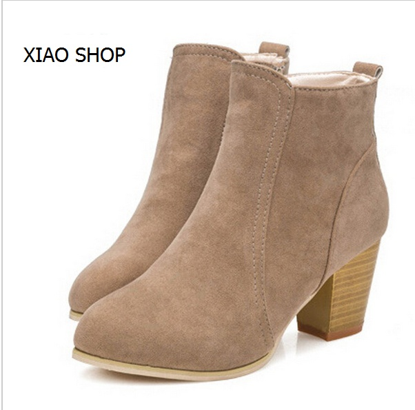 New 2015 Autumn and winter short cylinder boots with high heels boots shoes Martin boots women ankle boots with thick scrub<br><br>Aliexpress