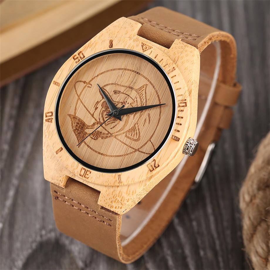 ทำมือไม้ไผ่นาฬิกาสำหรับผู้ชายผู้หญิงS CulptedออกแบบฉลามแบบDialหนังแท้สายคล้องสายนาฬิกาข้อมือ 3