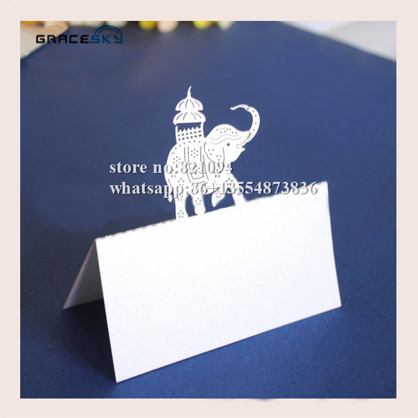 50Pcs free shipping laser cutting calf elephant Pearlescent Paper Wedding Invitation Seat Name table Cards for party Decoration(China (Mainland))