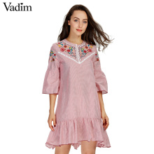 Vadim women sweet ruffles floral embroidery striped dress o neck half sleeve ladies summer casual mini dresses vestidos QZ3016(China)