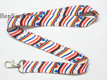 Girls Rainbow Stripe Key Lanyard ID Badge Holders with Hearts Phone Neck Strap Lots(China)