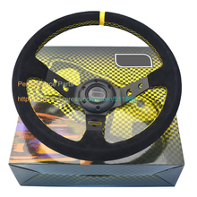 14 inch Auto Steering Wheel 350mm Racing Car Steering Wheel Deep Dish With Yellow Box