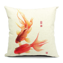 Special Pillow Cover Cushion Cover   China Stamp Featuring Goldfish Videos Pillow Case  Bedroom Decor Funda De Almohada