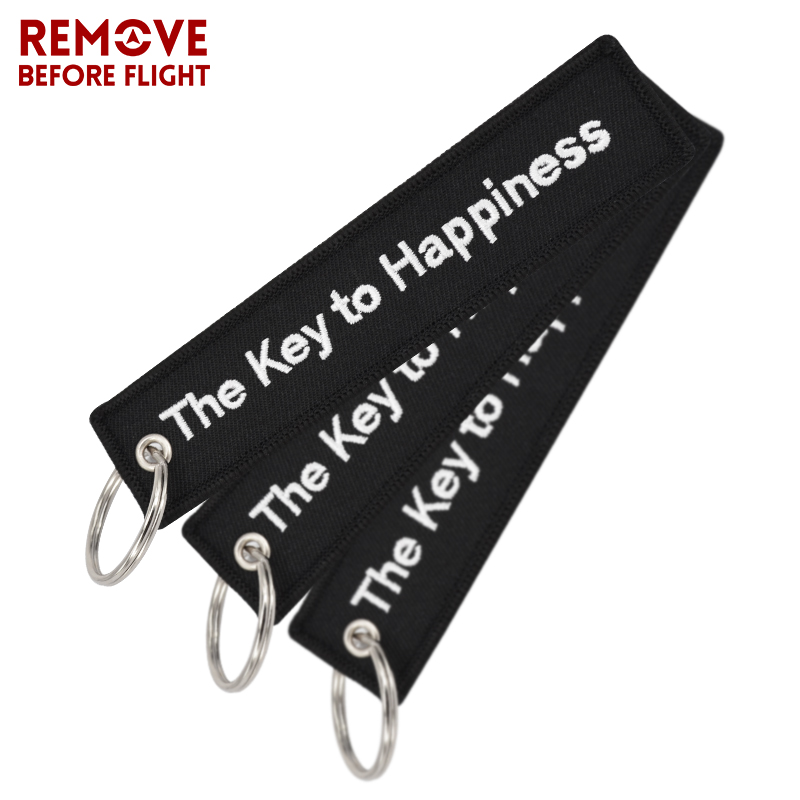 The Key to Happiness Key Chain Bijoux Keychain for Motorcycles and Cars Gifts Key Tag Embroidery Key Fobs OEM Key Ring