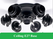 DIY Ceiling Lamp Socket E27 Fittings Round Chassis Parts Black 7 E27 lamp Base 10PCS(China)