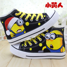 fashion Children Canvas Shoes  Kids trainer Despicable Me Minions Baby tenis Boys Girls sneakers cartoon painting cartoon shoes