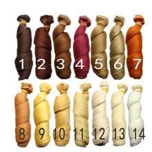 15*100cm curly doll wigs brown khaki black high temperature heat resistant doll hair 1/3 1/4 1/6 BJD diy doll wigs(China)