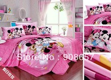 twin full queen king duvet covers cartoon bedding set cute hot pink mickey minnie mouse children's girl's bed linens 3pcs 4pcs