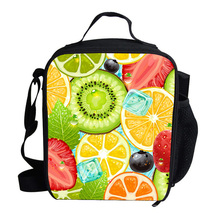 Mini Cute Summer Character Print Lunch Box Bag Fruit Print Cooler Lunch Bag For Kids Boys Girls Personalized Insulated Lunch Bag