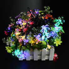 Led Solar String Lights 7meter 50 leds Peach Flower waterproof Outdoor Christmas Party Wedding romantic Decoration Lighting Lamp
