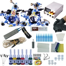 Professional Tattoo Kit 2 Machine Gun 6 Color Inks Power Supply Complete Tattoo Kits Complete Tattoo Machines Kit For Beginner