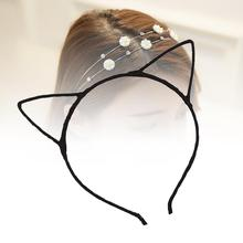 Black Lady Girls Fashion Cute Simple Headband Hair Head Band Party Gift Cat Ears Headwear hairband accessories New Style A190(China)