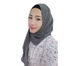 Muslim Hijab Scarf Islamic Shawls Wraps Print Flowers Chiffon Fabric Plain Strips Style Long Scarf 175*70cm(China)