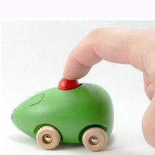 1PCS New Wooden Toy Car Baby BB Device Child Animal  With Sound Mouse Style Wood Car funny Cheap For Kids Dinky China toys Gift