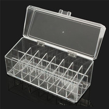 Acrylic Crystal Cosmetic Organizer Case Clear Makeup Storage Case Stand Rack With Cover Dustproof 24 Grid 23X9X10cm(China)