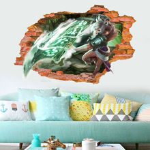 Internet cafes decoration Wallpaper LOL League of Legends Riven Zed Yasuo Lee wall Stickers Decor Popular E-sports Games Mural(China)