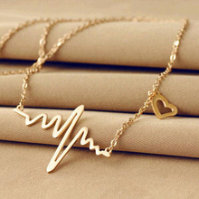 TOMTOSH 2016 new fashion jewelry imitation titanium steel ECG heart-shaped necklace clavicle pendant necklace
