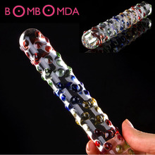 Buy Double ended headed Pyrex Glass Dildo crystal fake penis anal butt plug female male adult masturbation sex toy women gay O4