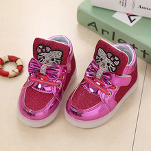 LED lighting 2017 new European fashion children's sports shoes and elegant beautiful little boys and girls shoes